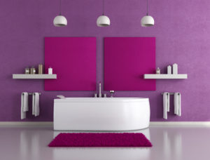 contemporary purple bathroom with white bathtub
